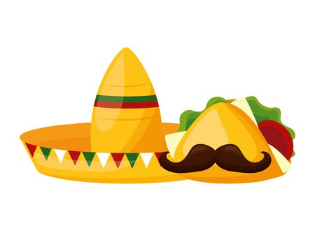 hat taco mustache mexico cinco de mayo vector illustration