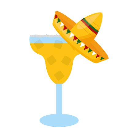 cocktail with hat mexico cinco de mayo vector illustration