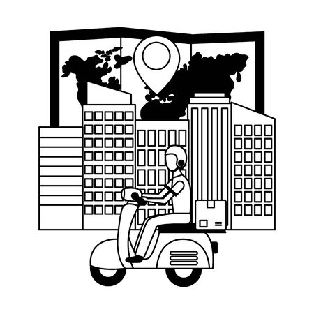 man in motrocycle map navigation city fast delivery vector illustration Illustration