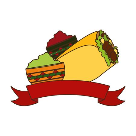 burrito and sauces mexican food vector illustration