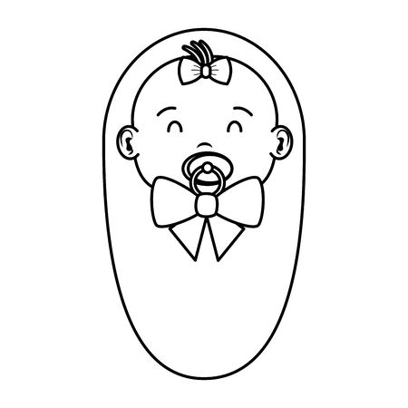 cute little baby girl with pacifier character vector illustration design
