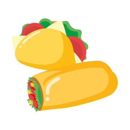 taco and burrito fast food white background vector illustration Ilustração