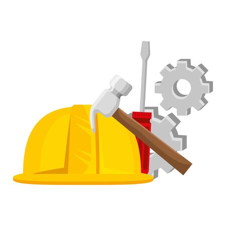 helmet construction with gears and tools vector illustration design Stock Illustratie