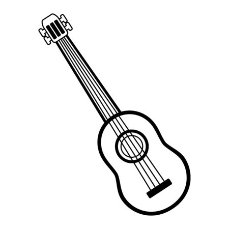 guitar music instrument on white background vector illustration