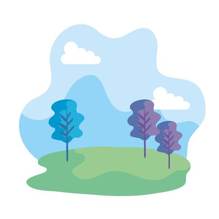 camp field landscape scene icon vector illustration design