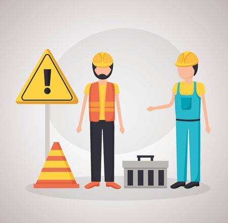 construction workers toolbox warning board vector illustration Stock Illustratie