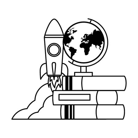 school globe rocket books teachers day  vector illustration