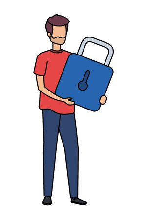 young man lifting padlock character vector illustration design