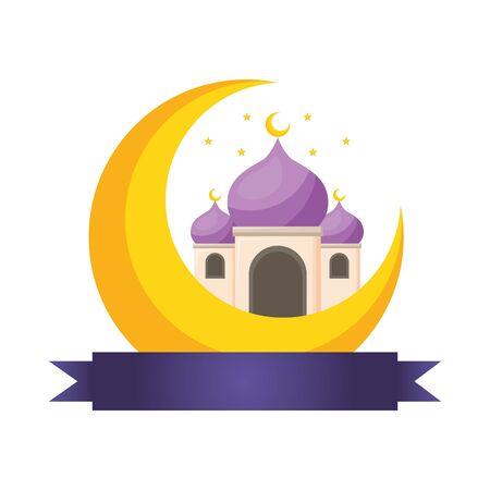 taj mahal half moon islamic vector illustration design