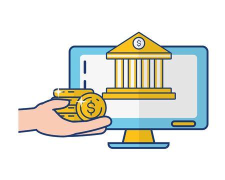 hand with coins bank computer online banking vector illustration Foto de archivo - 129187072