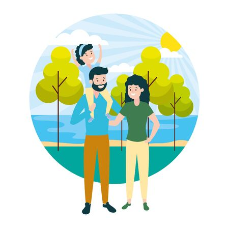 family dad mom and daughter outdoors vector illustration