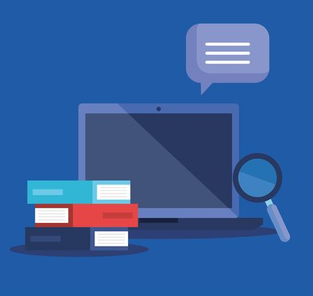 tecnologia del laptop con lente d'ingrandimento e bolla di chat per la strategia dell'ufficio con illustrazione vettoriale di libri Vettoriali