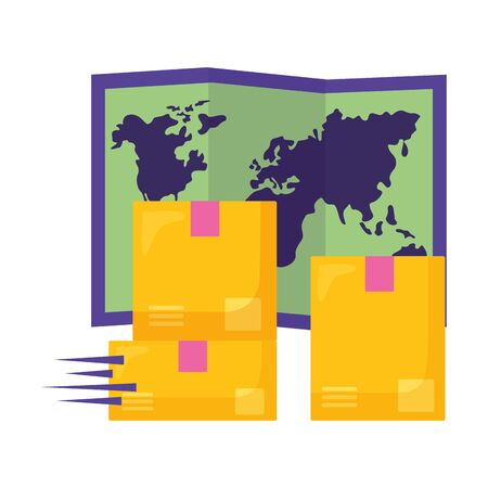 cardboard boxes world map fast delivery business vector illustration Illustration