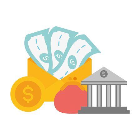 bank purse money online payment vector illustration Foto de archivo - 129187429