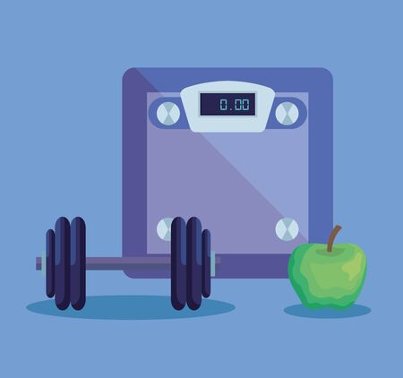 weighing machine with apple fruit and weight to fitness lifestyle, vector illustration