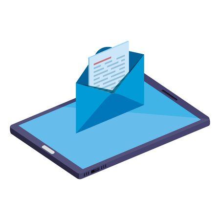 smartphone device with envelope email vector illustration design Foto de archivo - 129187455