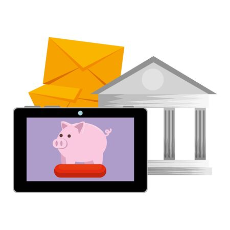tablet with piggy and bank building vector illustration design Illustration