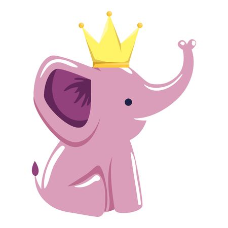 cute little elephant with crown character vector illustration design