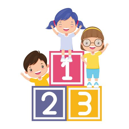 kids cubes zone boy and girls numbers blocks vector illustration Standard-Bild - 129187661