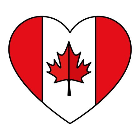canadian flag with heart shape vector illustration design