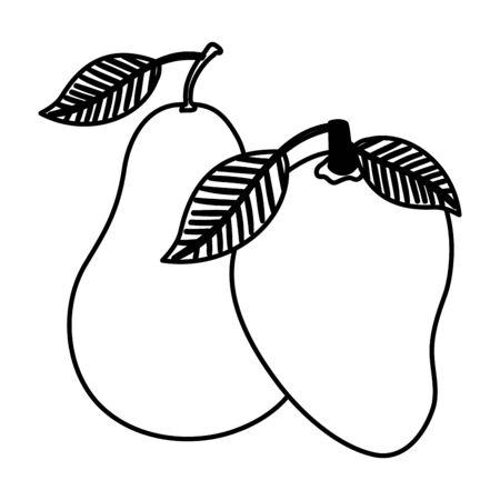 fresh mango and pear fruits nature vector illustration design Ilustração
