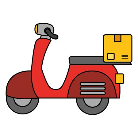 scooter fast delivery cardboard box vector illustration Ilustracja