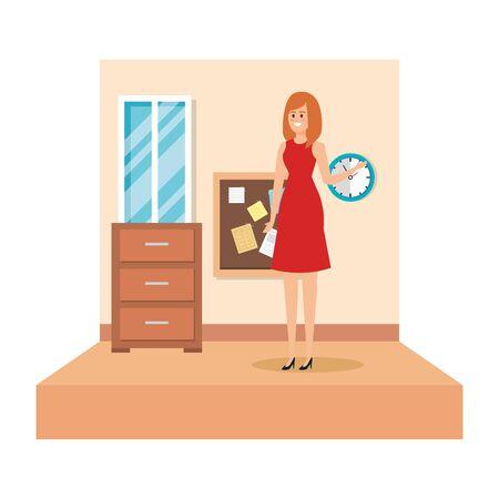 female teacher in school classroom vector illustration design