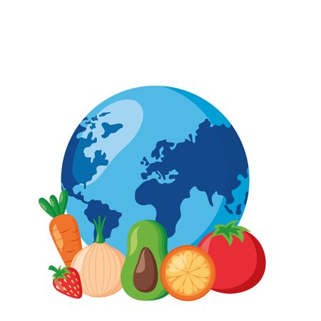 fruits vegetables world health day vector illustration