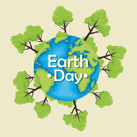planet with trees conservation to earth day vector illustration Çizim