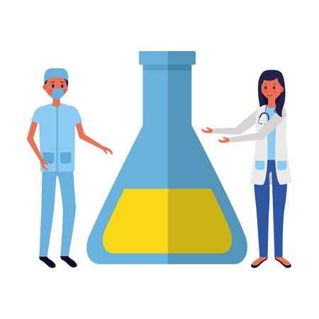 doctor woman and man flask laboratory medical vector illustration