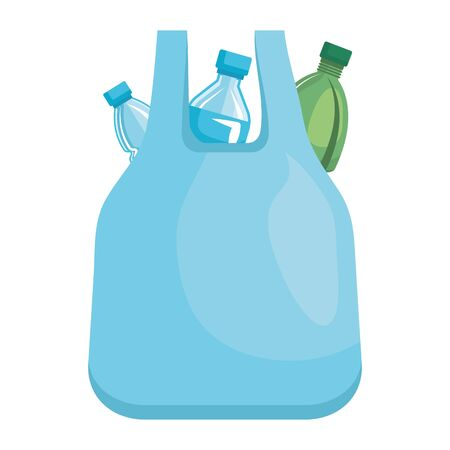 plastic bottles in bag recycle icon vector illustration design Illusztráció