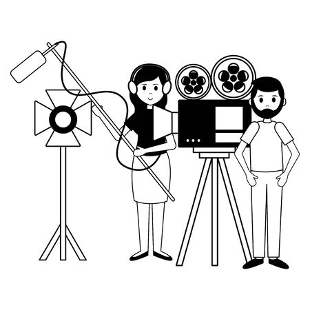 man and woman microphone light camera in tripod film movie production vector illustration