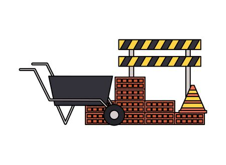 wheelbarrow wall brick barricade construction equipment vector illustration