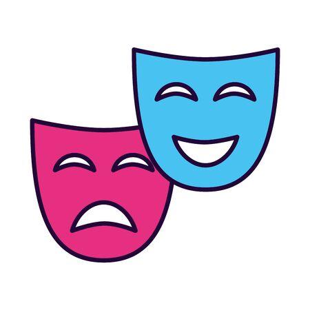 Máscara de teatro comedia drama fondo blanco, diseño de ilustraciones vectoriales Ilustración de vector