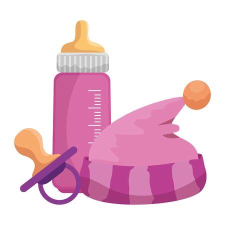 baby milk bottle with hat and pacifier vector illustration design Ilustração