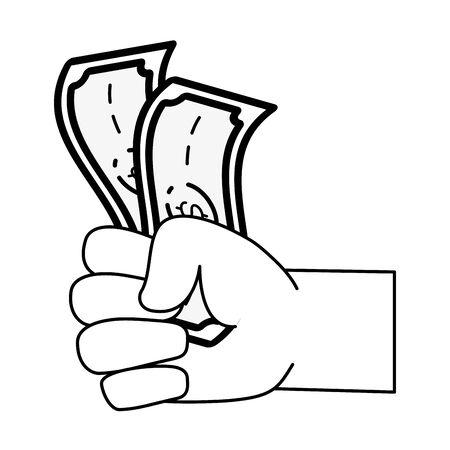 hands holding money online banking vector illustration