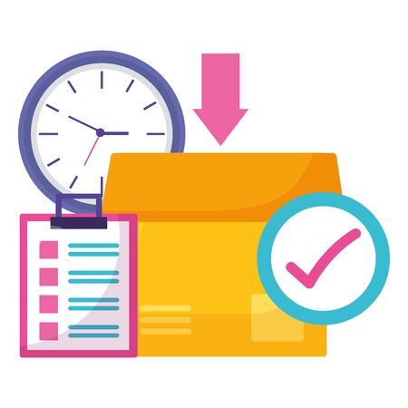 cardboard boxes clock check mark time fast delivery vector illustration Illustration