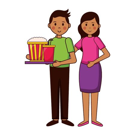 man and woman with popcorn and soda film movie vector illustration