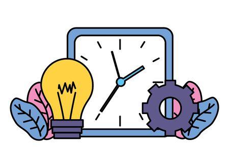 square clock time bulb gear business vector illustration vector illustration