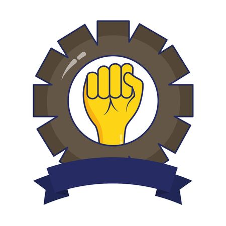 raised hand gear labour day vector illustration