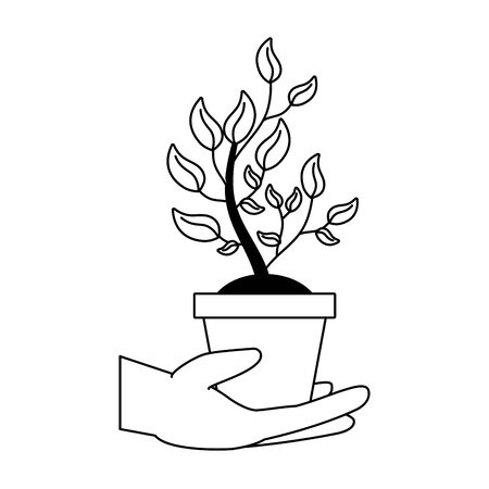 hand holding potted plant earth day card vector illustration Illustration