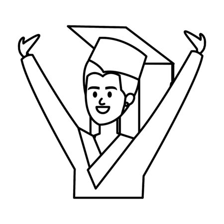 young woman student graduated celebrating vector illustration design  イラスト・ベクター素材