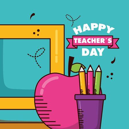 school book apple pencils color teachers day Illusztráció