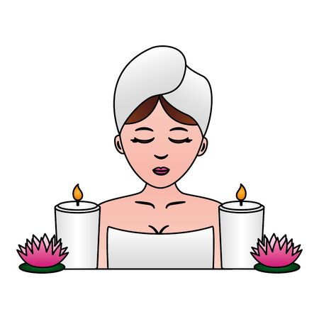 woman with towel candles and flowers spa vector illustration Ilustrace