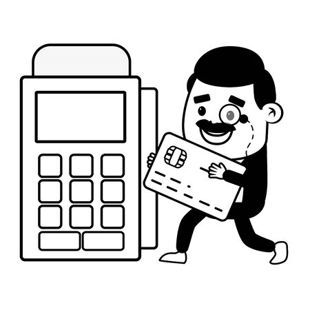 businessman bank card terminal online banking vector illustration Stock Vector - 129321717