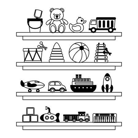 kids toys wooden shelf truck duck bear ball drum car plane train cubes vector illustration Foto de archivo - 129229966