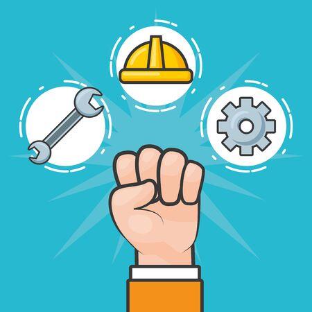 happy labour day hand raised tools vector illustration Stock Illustratie