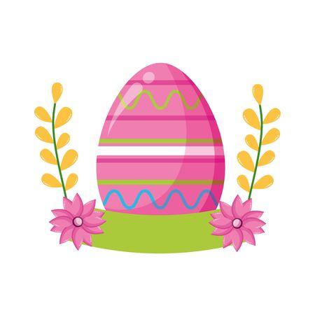 happy easter eggs flowers decoration vector illustration Stock Illustratie