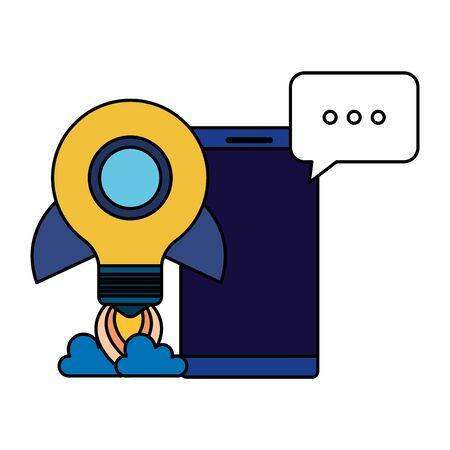 smartphone with rocket bulb and speech bubble vector illustration design Archivio Fotografico - 129154169