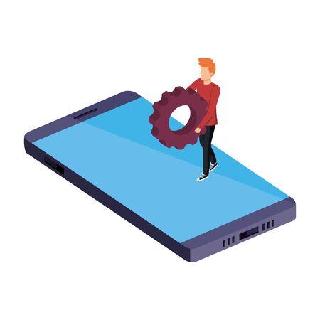 young man lifting gear in smartphone vector illustration design Archivio Fotografico - 129154181